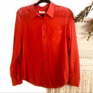 Equipment red orange silk blouse